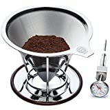 OmBrew Eco-Friendly Pour Over Stainless Steel Reusable Coffee Dripper With Separating Stand -Bundle With Dial...