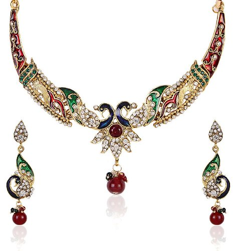 Shining Diva Enamelled Peacock Motif Necklace Set For Women