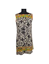 ADS Womens Digital Print Beige Black Kurti/Tunic - B00NPQET62