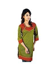 Jaipur RagaDesigner Red-Green Indian Pure Cotton Kurti Woman Cotton Kurti