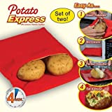 Urban Living Potato Express Microwave Potato Cooker(25.4X18.7X2.5 Cm,Red)