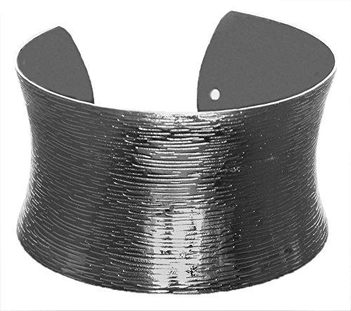 DollsofIndia Black Carved Metal Cuff Bracelet - Metal - Black - B00VNWR0YS