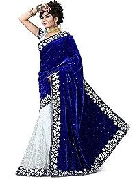 Tagline Women's Velvet & Net Saree With Blouse Piece (Tag50005_Blue)