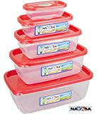 Nayasa Microwave Safe Containers Red 5pcs