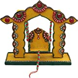 Crafticia Craft Traditional Rajasthani Handicraft Wooden Kundan Jhula Swing (28 Cm X 10 Cm X 26 Cm, Yellow)