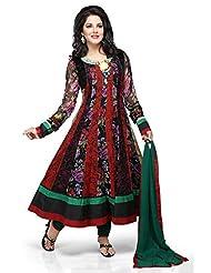 Utsav Fashion Women's Black And Red Pure Georgette Readymade Anarkali Churidar Kameez-X-Small