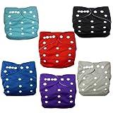 Alva Baby 6pcs Pack Pocket Adjustable Cloth Diaper With 2 Inserts Each (Boy Color) 6BM99