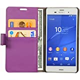 Cock Flip Cover For Sony Xperia Z3 D6616 Leather Case Cover With Kickstand Feature Purple