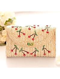 Chic Woven Summer Beach Straw Bag Fashion Handmade Women Cute Straw Bag Crossbody Fruit Cherry Flower Chain Shoulder...