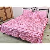 AANANTAA Pink Ruffled Designer Bed Spread Set For The Die-Hard Romantic