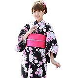 【黒地にピンクながれ桜 150cm】浴衣 セット 作り帯 ジュニア ときめきジュニア恋浴衣3点セット