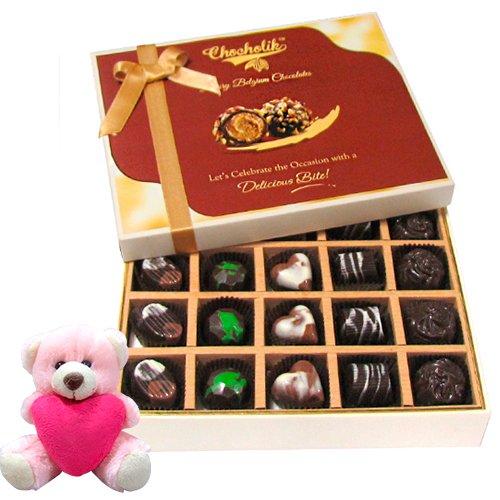 Best Collection Of Dark And Milk Chocolate Box With Teddy - Chocholik Belgium Chocolates
