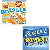"""Family Fun Night """"Boggle Jr."""" & """"Scrabble Jr."""" Board Game Gift Bundle Ages 3+ [2 Piece]"""