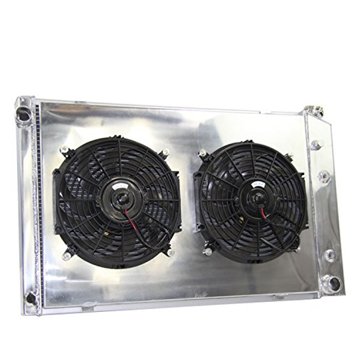 Primecooling 3 Row Full Aluminum Radiator + Fan (12 inches Dia.) Shroud for Chevrolet Chevy C10 C20 C30 R1500 Suburban,Pickup Trucks More Models 1973-91