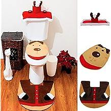 Alcoa Prime Hot Top Selling 4Pcs/Set Christmas Decorations Happy Santa Toilet Seat Cover & Rug Mat Bathroom Set...