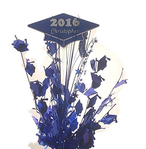 Personalized year & name Metallic blue Graduation Balloon Weight Centerpiece (CONTACT SELLER WITH NAME)
