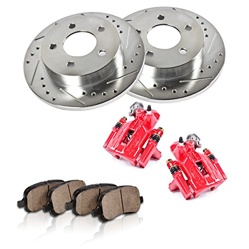 REAR Red [2] Calipers + [2] 6 Lug Rotors + Quiet Low Dust [4] Ceramic Pads Performance Kit