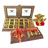 Chocholik Premium Gifts - 18 PC Delightful Chocolate Box With Small Ganesha Idol - Gifts For Diwali