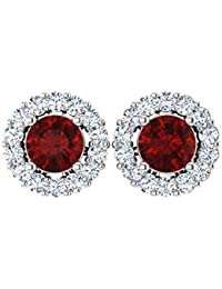 Forever Carat Gold Earring Real Diamond Earrings Natural Ruby Gemstone Earrings