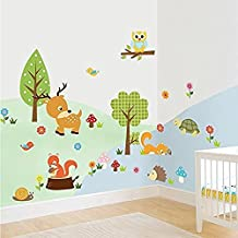 Amaonm Cute Cartoon Natural Wildlife Wall Decals Forest Animals Wall Stickers Murals Owls, Deer, Fox Peel & Stick...