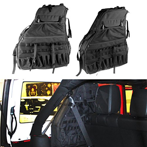 2x Roll Cage Multi-Pockets Storage & Organizers & Cargo Bag Saddlebag for 2007~2016 Jeep Wrangler JK 4-door Tool Kits Bottle Drink Phone Tissue Gadget Holder