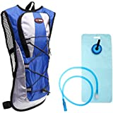 Magicdeal Outdoor Hiking Cycling 2L Water Bag Bladder Hydration Pack Backpack Blue