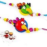 Set Of 2 Red & Green Angry Birds Rakhis