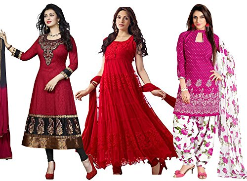 DivyaEmporio Women's Faux Crepe Salwar Suit And Anarkali Dress Material Combo Of 3 Suits