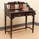 "ExclusiveLane Teak Wood ""Maharaja"" Writing Desk With Dhokra & Warli Work In Walnut Brown - End Table / Decorative..."