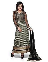 d4a053e894e036 Utsav Fashion Women's Black Net And Chanderi Silk Readymade Abaya Style  Churidar Kameez-Small