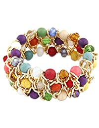 Young & Forever Diwali Special Multicolor Agate Bohemian Beads Anchor Chain Bracelet For Women By CrazeeMania