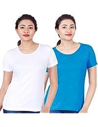 Fleximaa Women's Cotton Round Neck T-Shirt Plain (Pack Of 2) - White & Blue Colors.