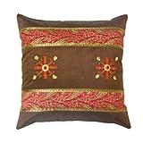 Rajrang Dark Coffee Polydupion Designer Cushion Cover Set Of 5 Pcs #Ccs01117