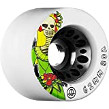 Rollerbones Day Of The Dead 80A Speed/Derby Wheels With A Nylon Core (Set Of 4), 62mm, White