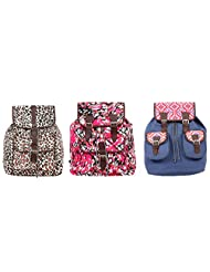 Pick Pocket Combo Of Black And White Animal Printed Canvas Back Pack With Pink And Black Canvas Back Pack With...