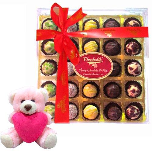 Appetizing Truffle Treat Of Indian Premium Flavored Chocolates With Teddy - Chocholik Exclusive Range