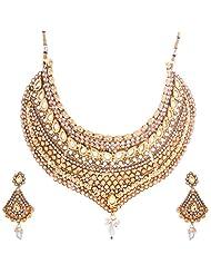 Nimble Golden Metal Choker Necklace Set For Women - B00XVMLCC4