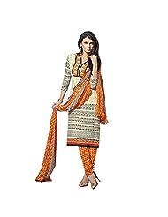 EthnicCrush Cream Colour Cotton Fabric Straight Cut Suit