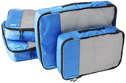 AmazonBasics Lot de 4sacoches de rangement pour bagage 2xTailleM/2xTailleL, Bleu