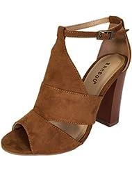 BAMBOO Women S Peep Toe Chunky Heel Sandal