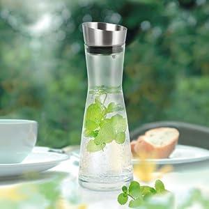 Hochwertige Glaskaraffe mit Edelstahl Deckel-Ausgießer ca