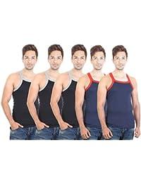 BODYSENSE BLACK & BLUE Men's Gym Vest ( Pack Of 5)