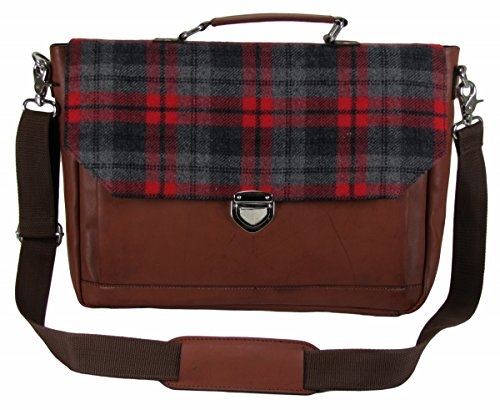 The House Of Tara Synthetic Leather Laptop And Office Bag (Tan And Tweed)