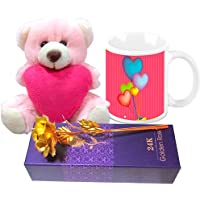 Valentine Gift HomeSoGood Flying Hearts On Valentine's Day White Ceramic Coffee Mug With Golden Rose & Teddy -...