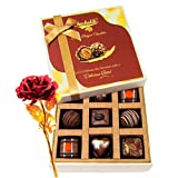 Classy Delightful Chocolates With 24k Red Gold Rose - Chocholik Luxury Chocolates