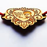 Heart Shaped Engraved Wooden Photo Rakhi