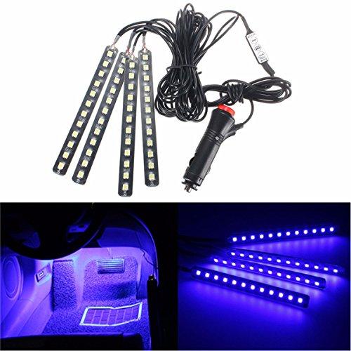 AUDEW 4-Piece Car Atmosphere light , LED Car Interior Light Underdash Lighting Kit ,Auto Car Floor Lights,Glowing Neon Light Strips Decoration Lamp for All Vehicles blue