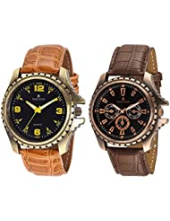 Sheldon Brown Leather Analog Watch For Men Combo Of 2