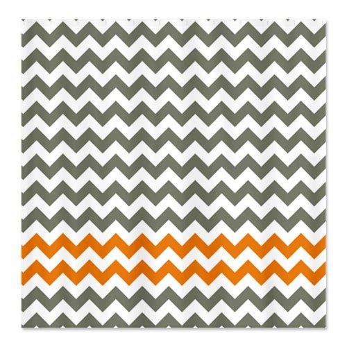 Gray and Orange Chevron Shower Curtain