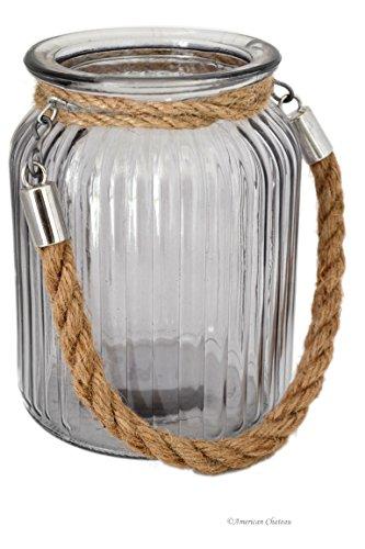"Medium 5.5"" Nautical Glass Hurricane Candle Holder Lantern With Jute Rope Handle"